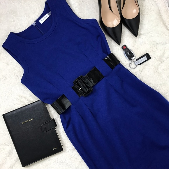 Calvin Klein Dresses & Skirts - Calvin Klein Royal Blue Belted Dress